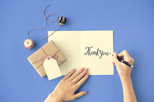 Saying thank you to your customers with a personal not